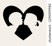 boy kiss girl heart silhouette. ... | Shutterstock .eps vector #1290599983