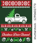 classic car christmas ugly... | Shutterstock .eps vector #1290602773