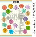 number crossword for kids... | Shutterstock .eps vector #1290602836