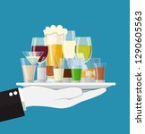 alcohol drinks collection in... | Shutterstock .eps vector #1290605563