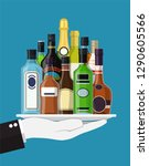 alcohol drinks collection in... | Shutterstock .eps vector #1290605566