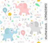cute pattern with happy... | Shutterstock .eps vector #1290605893