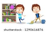 cartoon siblings cleaning up at ... | Shutterstock .eps vector #1290616876