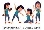 asian girl set vector. school... | Shutterstock .eps vector #1290624346