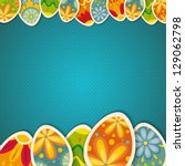 Happy Easter card template, colored eggs and polka dot pattern
