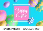 happy easter horizontal banner... | Shutterstock .eps vector #1290628459