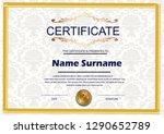 elegant certificate template... | Shutterstock .eps vector #1290652789