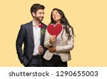 young couple in valentines day... | Shutterstock . vector #1290655003