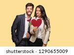 young couple in valentines day... | Shutterstock . vector #1290655009