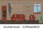 living room with old dirty... | Shutterstock .eps vector #1290660823