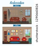 living room before and after... | Shutterstock .eps vector #1290660826