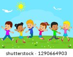 kids boys and girls playing on... | Shutterstock .eps vector #1290664903