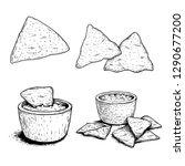 Nachos Sketch Style Set. Single ...