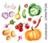 onions  red onions  garlic ...   Shutterstock . vector #1290679150