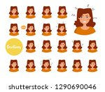 woman with different emotions.... | Shutterstock .eps vector #1290690046