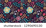 floral seamless pattern on... | Shutterstock .eps vector #1290690130