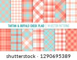 coral  pink and aqua blue... | Shutterstock .eps vector #1290695389