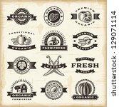 vintage organic harvest stamps... | Shutterstock . vector #129071114