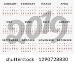 calendar 2019 template.... | Shutterstock .eps vector #1290728830