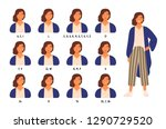 bundle of cute female character ... | Shutterstock .eps vector #1290729520