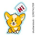 cute vector corgi dog sticker...   Shutterstock .eps vector #1290741709