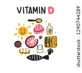 vitamin d sources. hand drawn... | Shutterstock .eps vector #1290744289
