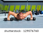 gym man push up strength pushup ... | Shutterstock . vector #129076760