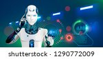 robot works at factory.... | Shutterstock . vector #1290772009