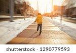 the little boy is running... | Shutterstock . vector #1290779593