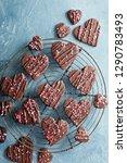 chocolate hearts cookies for... | Shutterstock . vector #1290783493