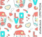pattern lettering love ... | Shutterstock .eps vector #1290794236