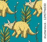 triceratops dinosaur seamless...   Shutterstock .eps vector #1290796030