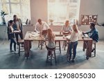 day meeting. top view of modern ... | Shutterstock . vector #1290805030