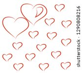 valentine card with red hearts | Shutterstock . vector #1290808216