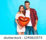 portrait of smiling beautiful... | Shutterstock . vector #1290823573
