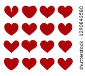 set of vector red hearts on... | Shutterstock .eps vector #1290843580