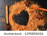 food art concept. set of spices ... | Shutterstock . vector #1290850426