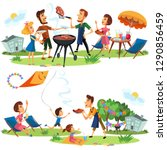 picnic family nature and holiday | Shutterstock . vector #1290856459