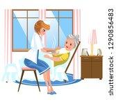 cartoon sweet nurse feeding old ...   Shutterstock .eps vector #1290856483