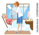 cartoon poster of old woman... | Shutterstock .eps vector #1290856486