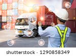 foreman working with global... | Shutterstock . vector #1290858349