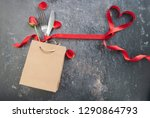 cutlery inside a gift bag with... | Shutterstock . vector #1290864793