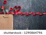 fork and knife inside a gift... | Shutterstock . vector #1290864796