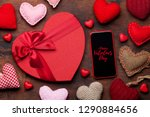 valentine's day greeting card... | Shutterstock . vector #1290884656