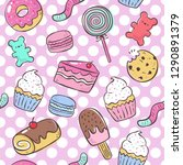 hand draw candy sweets elements ... | Shutterstock .eps vector #1290891379