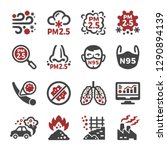 air pollution pm 2.5 icon set... | Shutterstock .eps vector #1290894139