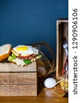 burger with beef  egg and... | Shutterstock . vector #1290906106
