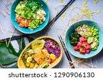 hawaiian ahi poke bowl  tuna... | Shutterstock . vector #1290906130