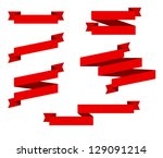 red retro ribbons | Shutterstock .eps vector #129091214