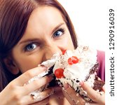 happy woman eating pie ... | Shutterstock . vector #1290916039